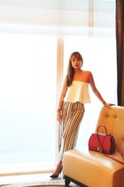 maroon Moynat bag - white Pink Manila top - light brown Zara pants