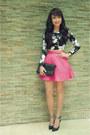 Black-ysl-bag-black-bcbg-heels-hot-pink-topshop-skirt-black-f21-top