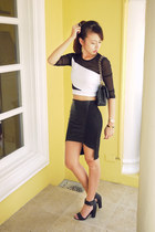 black Chanel bag - white Topshop top - black H&M heels