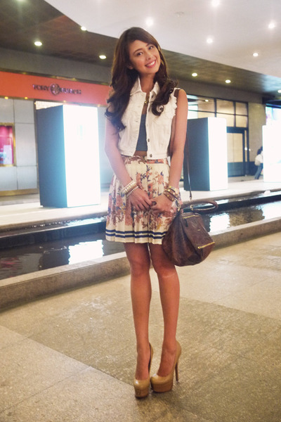 off white Ever New skirt - brown Givenchy bag - sky blue With Love top