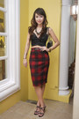 Black-chanel-bag-brick-red-tartan-pencil-dorothy-perkins-skirt