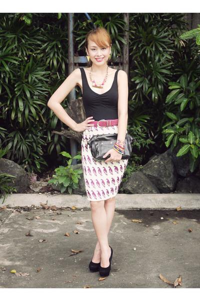 black YSL bag - yellow H&M skirt - hot pink Anne Smith belt - black SO Fab heels
