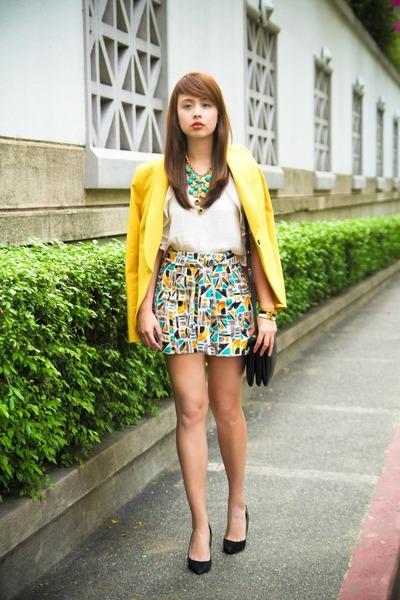 yellow Mango blazer - black Celine bag - turquoise blue Zara shorts