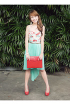 red Maris bag - aquamarine Topshop top - gold Mango belt - red Zara heels