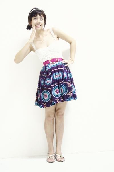 Gifted Hong Kong Stall top - Anne Klein belt - Hong Kong Stall skirt - Charles a
