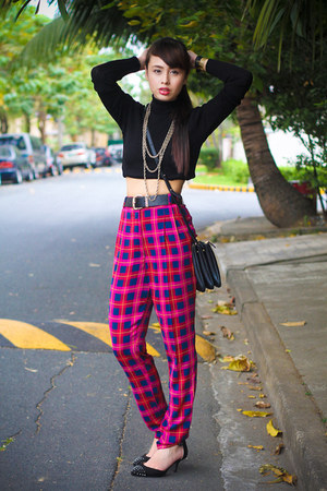 black Zara sweater - black Celine bag - hot pink River Island pants