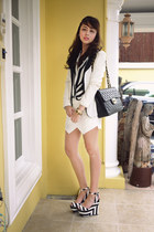 black Chanel bag - white blazer - black stripes Mango top - black Zara wedges