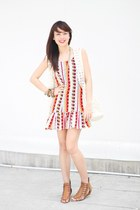 yellow Paradise Treats dress - white mumi bag - ivory c&a vest
