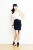 white Zara shirt - black Hong Kong shoes - black Zara dress