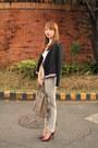 Black-zara-jacket-heather-gray-celine-bag-maroon-zara-heels