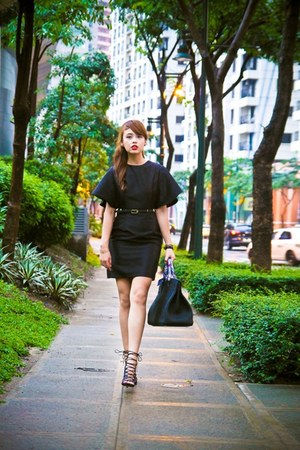 black Astogroup dress - black Hermes bag - black AmiClubWear heels