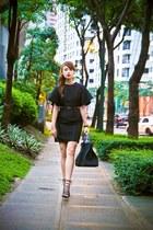 black Astogroup dress - black Hermes bag - black AmiClubWear heels