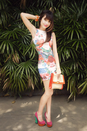 orange H&M bag - white Urban Dressing dress - orange CMG heels