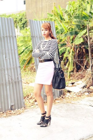 black Zara shirt - black Alexander Wang bag - bubble gum River Island skirt
