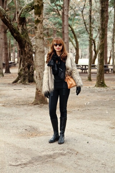 beige fur Zara jacket - black BCBG tights - black Marc by Marc Jacobs scarf