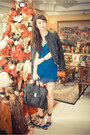 Blue-charles-keith-shoes-blue-mango-dress-black-oath-jacket