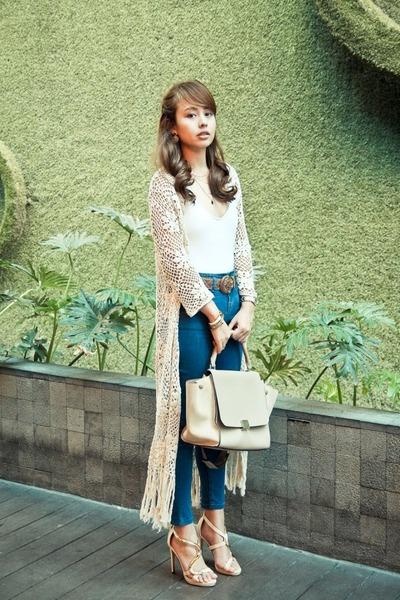 white Wear Sundae top - dark khaki Celine bag - blue Topshop pants