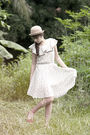 Beige-what-a-girl-wants-hat-brown-what-a-girl-wants-dress-white-accessories-