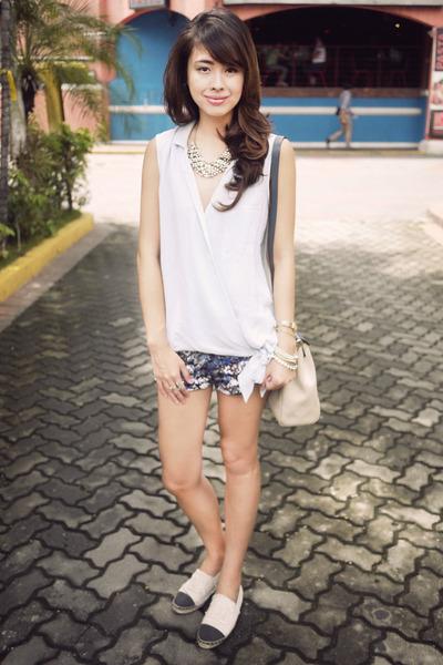 ivory espadrilles Chanel shoes - ivory Hermes bag - blue charlie shorts