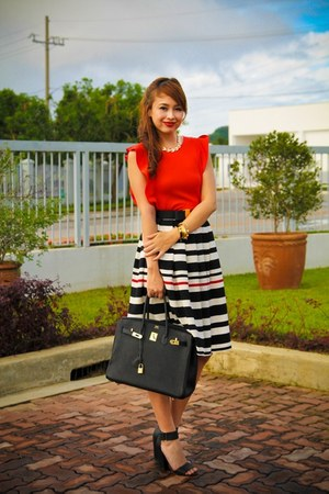 black Metro skirt - black Hermes bag - black H&M heels - red Topshop top