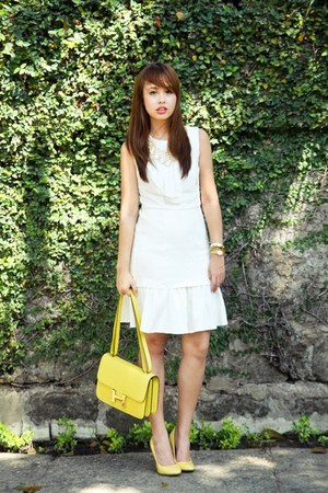 yellow Zara shoes - white Felicia dress - yellow Hermes bag