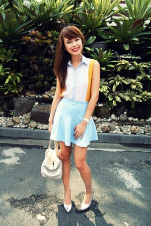 light blue Taipei market skirt - silver Louis Vuitton bag