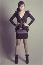 black Forever 21 top - black Forever 21 boots - silver Forever 21 skirt - heathe
