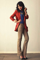 camel flared human pants - tawny blazer - blue button-down human blouse