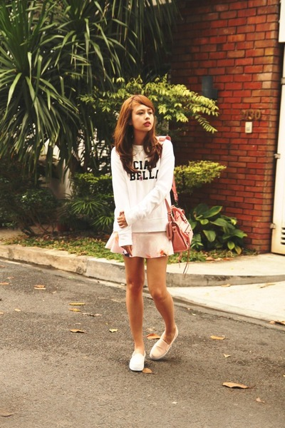 bubble gum balenciaga bag - pink Zara skirt - salmon Stradivarius sneakers