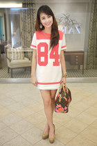 light brown Louis Vuitton bag - tan Fendi heels - coral Bershka top