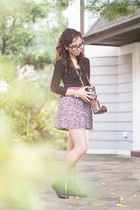 black Mango shirt - purple cotton on skirt - black Bally boots - black Ray Ban a