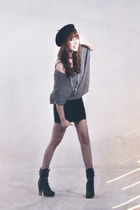 black Sinequanone hat - gray Promod sweater - black Topshop skirt - black f21 bo