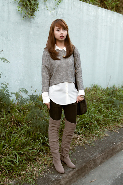 white Mango top - heather gray Cole Haan boots - navy bcbg max azria tights