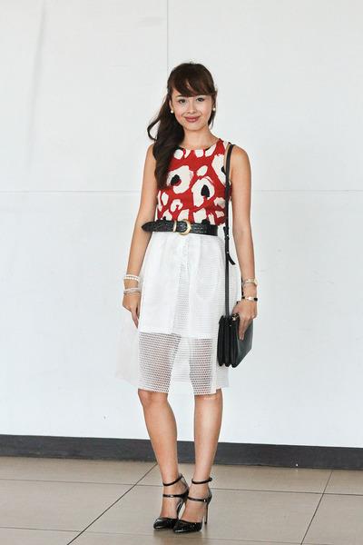 black Zara shoes - black Celine bag - white Carven skirt - burnt orange Zara top