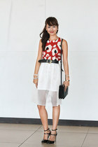 black Zara shoes - black Celine bag - white Carven skirt - burnt orange Zara top