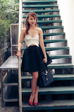 black Hermes bag - white keepsake top - ruby red Zara heels - black H&M skirt
