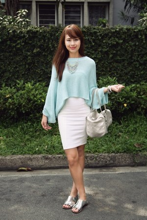 silver Louis Vuitton bag - light blue Zara sweater - white Miss Selfridge skirt