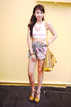 mustard MiuMiu bag - bubble gum Binkydoodles skirt - white H&M top