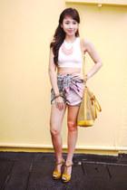 mustard MiuMiu bag - bubble gum Binkydoodles skirt - white H&M top
