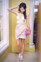 white Zara shoes - hot pink Prada bag - hot pink Zara skirt