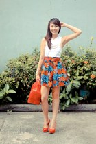 blue Stylestunner Mania skirt - red Furla bag - red Zara heels