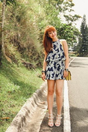 navy SOMETHING BORROWED romper - yellow Hermes bag - ivory Valentino heels