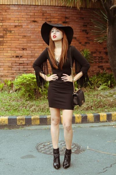 black Altuzarra for target shoes - black Zara dress - black Chanel bag