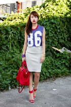 red Fendi bag - blue Topshop top