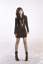 black soiree dress - silver Girlshoppe accessories - black Forever21 boots