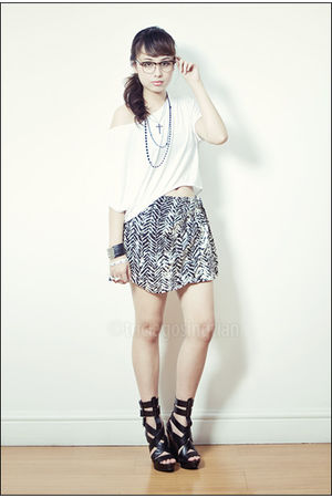 black accessories - white Nectar shirt - black Forever 21 skirt - black michael