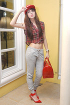 red Furla bag - red Stussy hat - maroon Bershka top - ruby red Zara heels