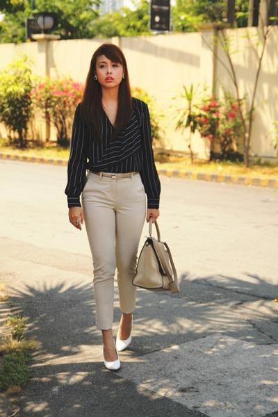 tan Celine bag - beige Mango pants - navy Mango top - white sm parisian heels