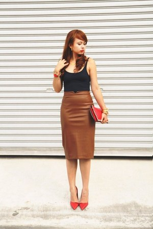 bronze Zara skirt - navy Mango shirt - ruby red bag