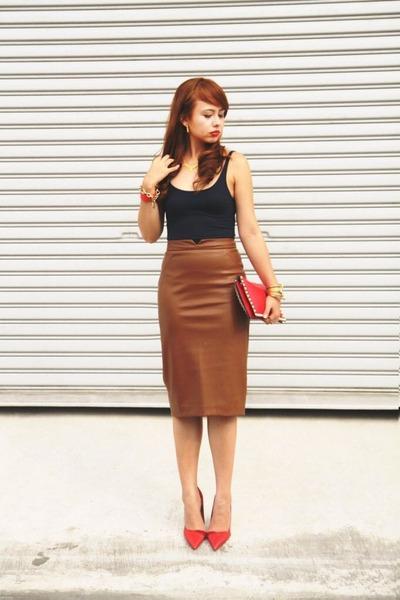 bronze Zara skirt - navy Mango shirt - ruby red bag